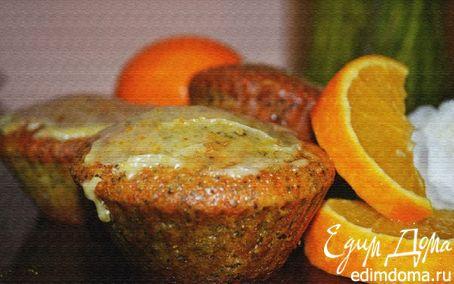 Рецепт Апельсиновые капкейки с маком и ванильной глазурью
