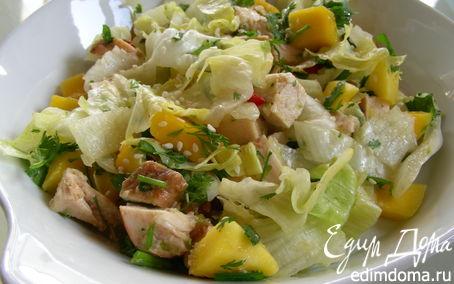 Рецепт Освежающий салат с курицей и манго