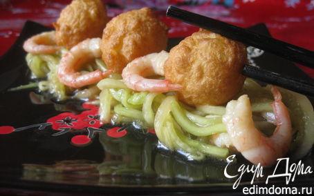 Рецепт Огуречный салат с рисовыми шариками-темпура и креветками