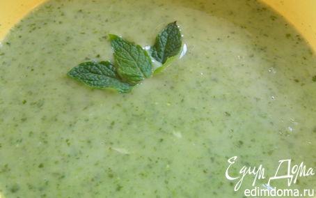 Рецепт Суп-пюре Леонтин с зеленым горошком, луком-пореем и шпинатом