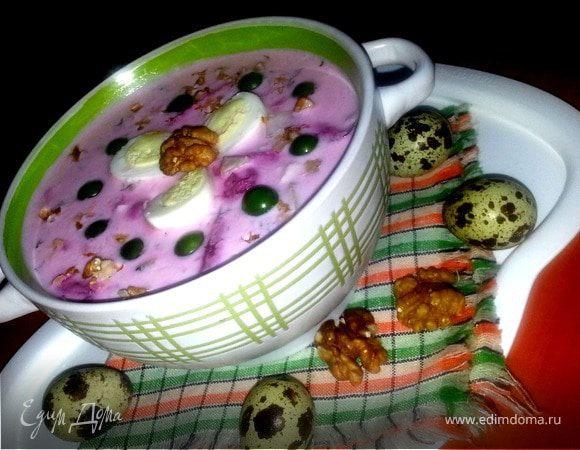 Кефирный суп с грецкими орехами