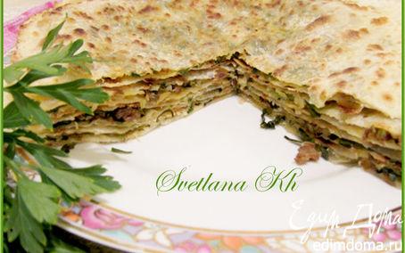 Рецепт Лепешки по-дунгански с мясом и зеленью