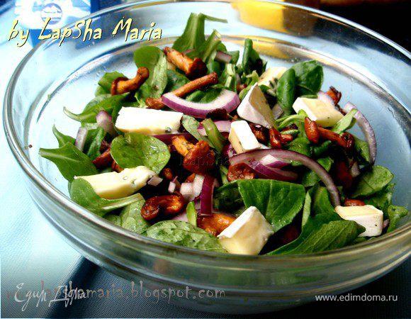Теплый салат с лисичками и сыром Бавария Блю