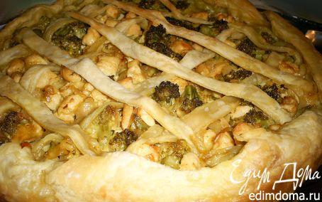 Рецепт Пирог из слоеного теста с брокколи и курицей