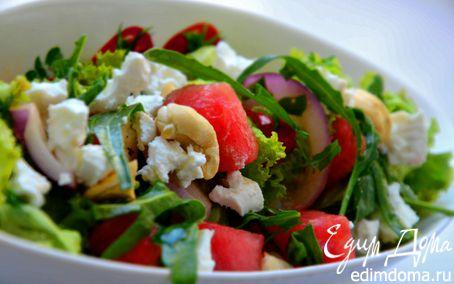 Рецепт Салат с арбузом, брынзой и кешью