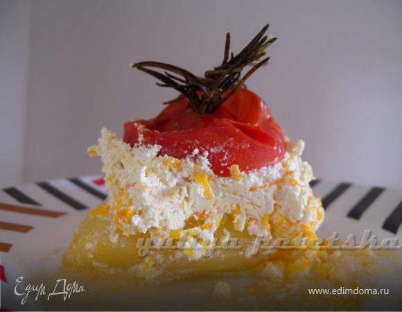 Фаршированный перец на бочок с розмариновым томатом (помидором)