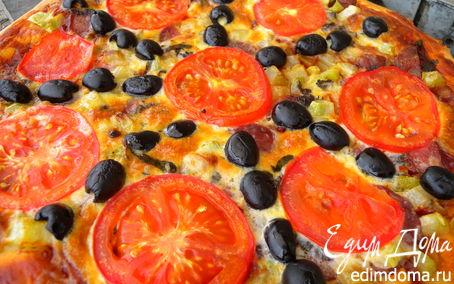 Рецепт Сытная пицца с яично-сметанной заливкой