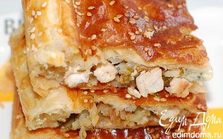 Рецепт Слоеный пирог с начинкой из индейки и сыра