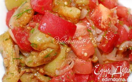 Рецепт Салат из жареных баклажанов со свежими помидорами