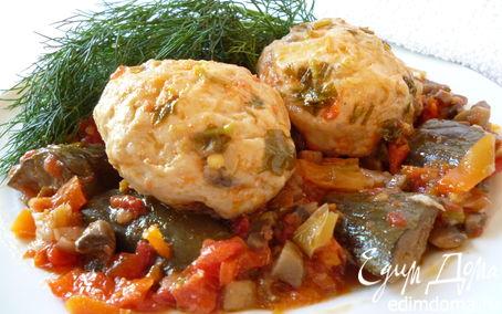 Рецепт Рыбно-грибные тефтельки, запеченные с овощами