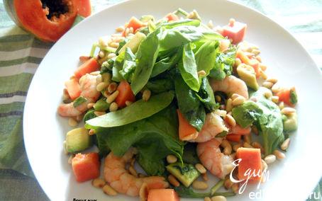Рецепт Салат с креветками, папайей и авокадо