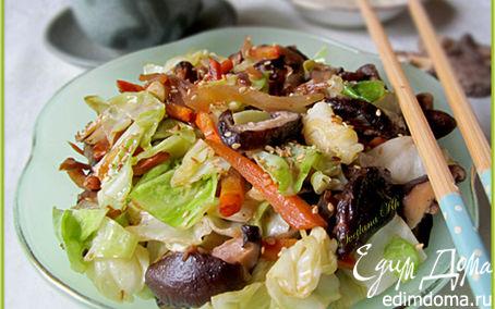 Рецепт Грибы шиитаке с молодой капустой