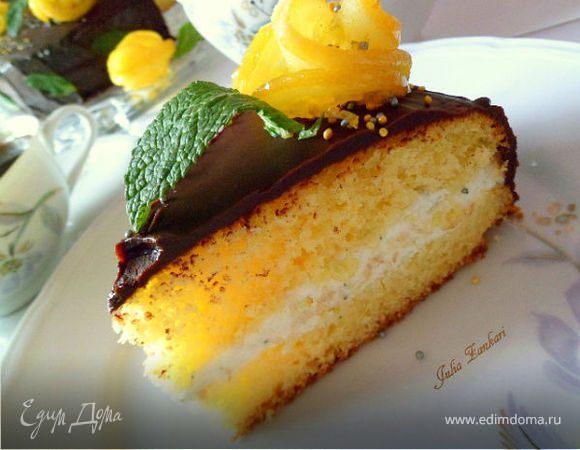 Лимонный кекс с мятно-сливочным кремом под шоколадом (для Тори)