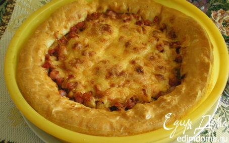 Рецепт Пирог с ветчиной и сыром из заварного теста