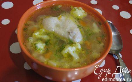 Рецепт Куриный суп с цветной капустой и зеленым горошком