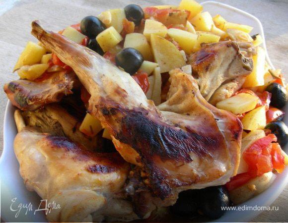 Кролик по-итальянски с оливками, базиликом и розмарином