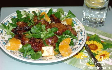 Рецепт Листовой салатик с куриной печенью