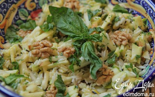 Рецепт Рисовый салат с яблоками, грушей и грецкими орехами