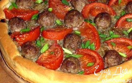 """Рецепт Открытый пирог """"Фантазия"""" с луковой начинкой, фрикадельками и помидорами"""