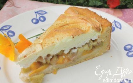 Рецепт Пирог из творожного теста с персиком и ревенем