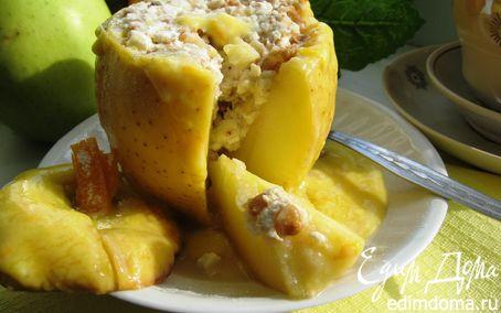 Рецепт Запеченные яблоки с соусом «Сабайон» и нежной творожной начинкой
