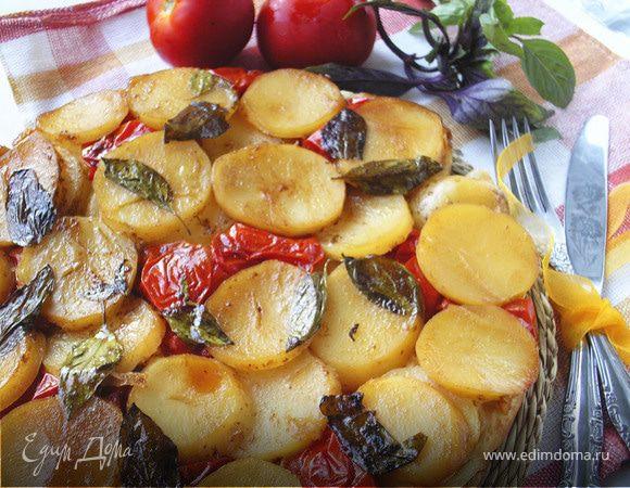Тарт с картофелем, сыром и помидорами