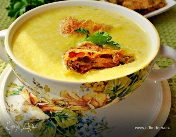Крем-суп из тыквы с сырными рулетиками