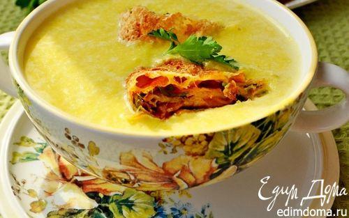 Рецепт Крем-суп из тыквы с сырными рулетиками