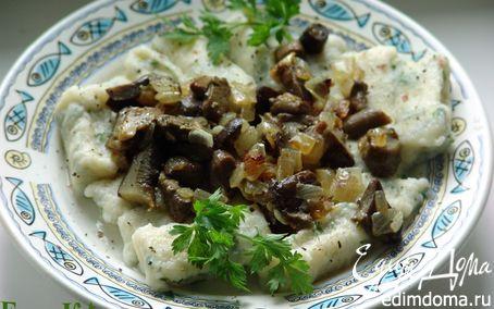 Рецепт Ленивые вареники с заправкой из грибов