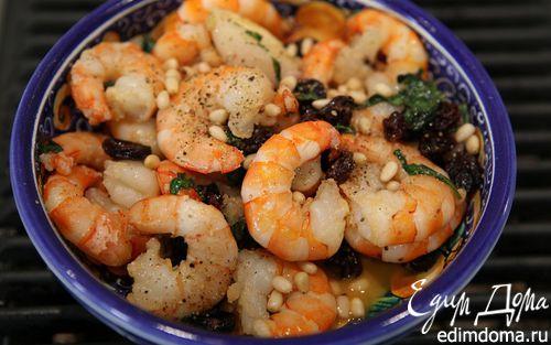 Рецепт Креветки в винном соусе с орехами и базиликом