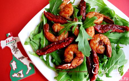 Рецепт Жареные креветки с руколой и вялеными помидорами