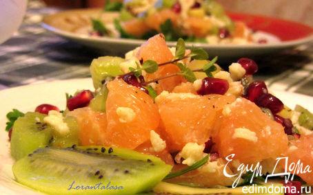 Рецепт Салат с крилем, киви и грейпфрутом