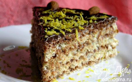 Рецепт Шоколадно-лимонный вафельный торт с миндалем