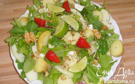 Рецепт Картофельно-яблочный салат с козьим сыром и грецким орехом