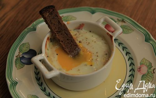 Рецепт Яйца, запеченные с ветчиной, сыром и травами