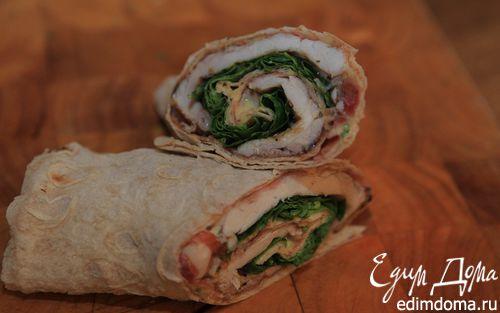 Рецепт Рулетики из лаваша с курицей, ветчиной и шпинатом