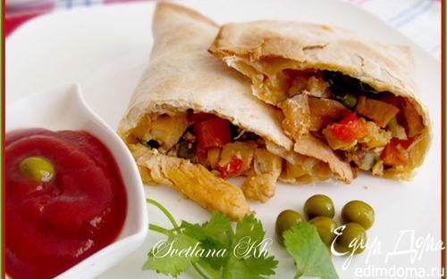 Рецепт Кесадилья с курицей и мексиканской смесью овощей