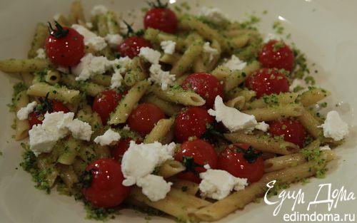 Рецепт Пенне с рикоттой, помидорами и хлебно-чесночным соусом