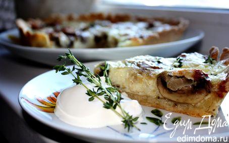 Рецепт Песочный пирог с грибами и сыром