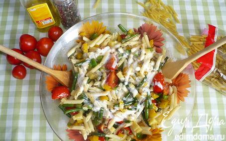 Рецепт Теплый салат с макаронами и овощами