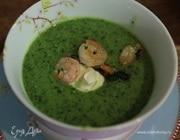 Зеленый суп с креветками