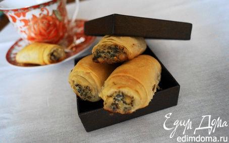 Рецепт Трубочки из теста фило с маком, кедровыми орешками и пармезаном