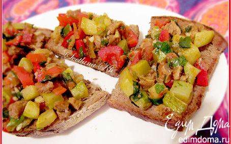 Рецепт Брускета с мясом и овощами