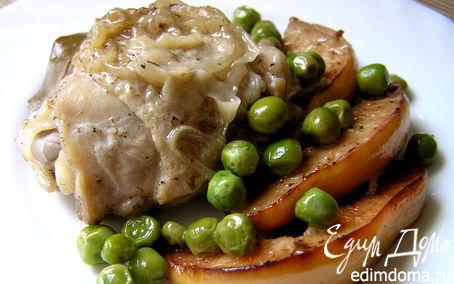 Рецепт Курица с айвой и зеленым горошком