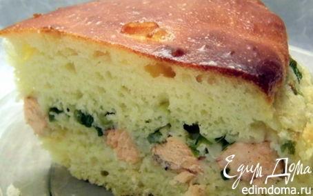 Рецепт Пирог из дрожжевого оладьевого теста с рыбой и зеленым луком
