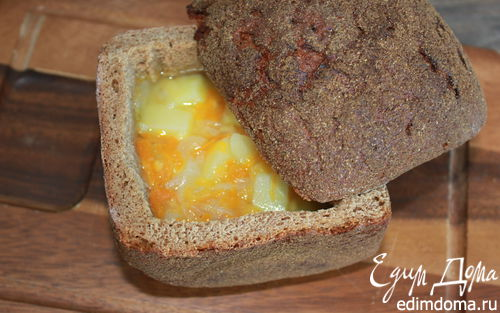 Рецепт Чечевичный суп в хлебе