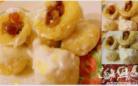Рецепт Ленивые вареники с имбирем, фаршированные изюмом