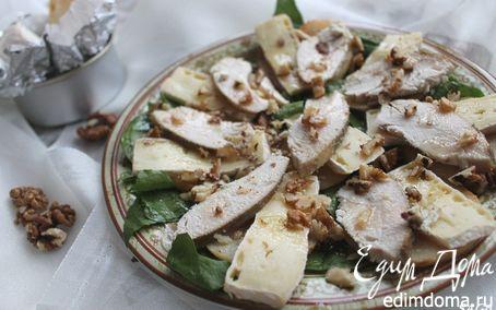 Рецепт Салат с винными грушами, курицей и сыром бри