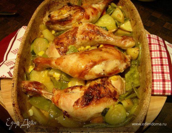 Курица, запеченная с овощами и пивом