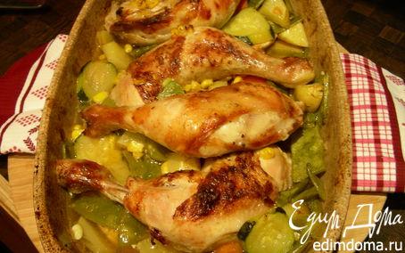 Рецепт Курица, запеченная с овощами и пивом